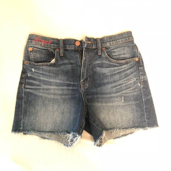 8fbef7b27d5 Madewell Pants - High-Rise Denim Boyshorts in Glenoaks Wash  Cutoff